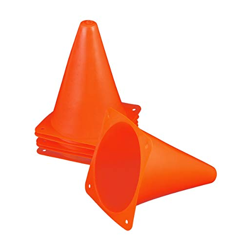 Toyvian Training Verkehrskegel Mini Agility Marker Kegel für Kinder 6 STÜCKE 18 cm Kunststoffkegel für Fußball, Fußball Sport (Orange)