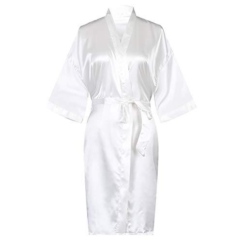 Albornoz kimono para mujer, bata de seda con cuello en V, ropa de dormir suelta con impresión de bata de baño ligera para mujer, bata blanca - L