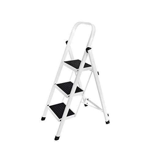 Bewegliche Faltbare Leiter Stuhl Trittschemel Multifunktions-Stehleitern mit Geländer, Max.200 Kg -M05N (Color : White, Size : 41X66X104CM)