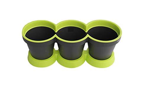 3 in 1 Kruidpot Bloempot Plastic Voor Vensterbank/Keuken 40 cm Tweekleurig Muntgroen