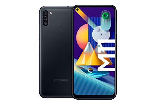 Samsung Galaxy M11 Android Smartphone ohne Vertrag, Triple-Kamera, 6,4 Zoll HD+ Infinity-O Display, großer 5.000 mAh Akku, 32 GB/3GB, Handy in Schwarz, deutsche Version exklusiv bei Amazon
