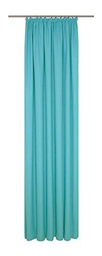Wirth 4004567142896 Fertigschal mit Kräuselband, Bio Baumwolle, Türkis, 245 x 130 cm