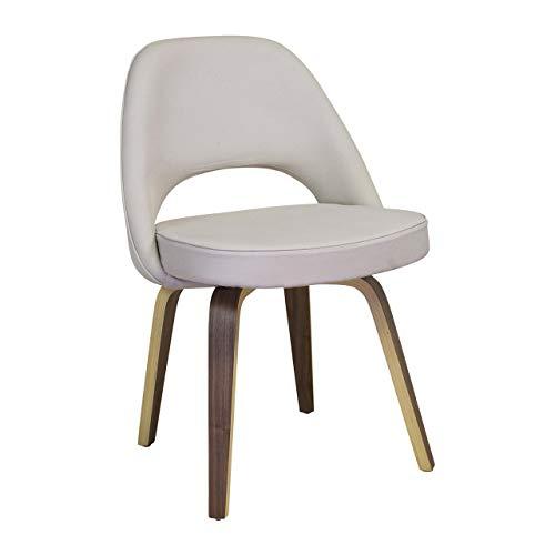 Design Tree Home Midcentury Moderner Stuhl im Saarinen-Stil, weißes Leder