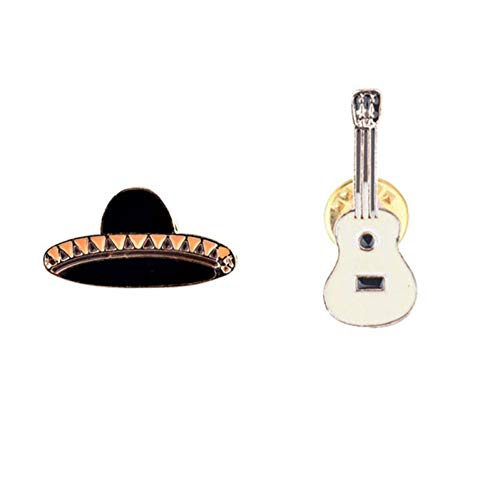 FSAKLFS 2 Teil/Satz Hut Gitarre Mexikanischen Emaille Pins Abzeichen Metall Mädchen Jeans Kappe Rucksack Dekoration Geschenk Mode Broschen Schmuck Für Frauen