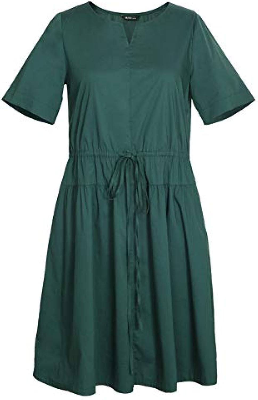 Woman Dress XL Women's Summer Dress Fat Cover Belly Round Neck Shirt Dress
