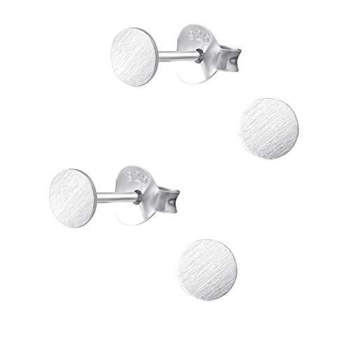 2 pares de pendientes pequeños planos redondos de plata 925 mate de 4 mm.