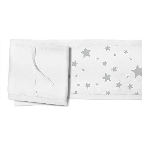 BreathableBaby 3pc Classic Crib Bedding Set - Star Light White and Gray