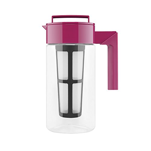Takeya Iced Tea Maker with Patented Flash Chill Technology Made in USA, 1 Quart, Raspberry