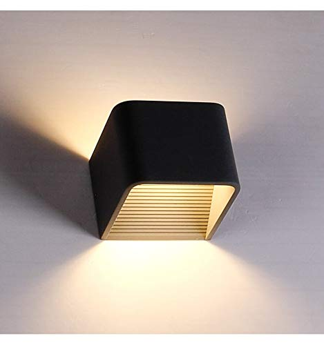 KOSILUM - Éclairage mural à LED 6W - Quadra noir 10 cm - Lumière Blanc Chaud Eclairage Salon Chambre Cuisine Couloir - 6W - 389 lm - LED intégrée - IP20