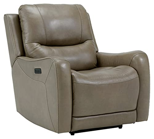 Signature Design by Ashley Galahad Zero Wall Recliner with Power Headrest, Brown