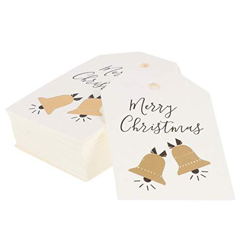 Cabilock 100Pcs Frohe Weihnachten Kraftpapier Geschenkanhänger Weihnachtsbaum Hängen Ornament Dekorationen für DIY Weihnachten Geschenk Wrap Und Etikett Paket Namenskarte Stil 2