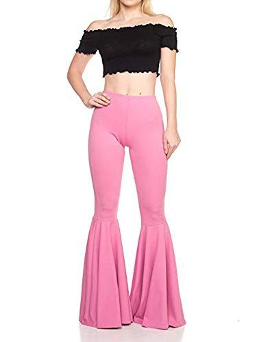 Damen-Yogahose, Stretch, mit Glockenhose, breite Beine, mehrfarbig, hohe Taille S blau