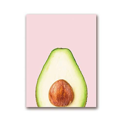 Arte de la lona del cartel de la fruta del aguacate, pintura del arte de la tendencia del aguacate cuadro de la pared de la cocina del hogar pintura decorativa sin marco de la lona I81 50x70cm