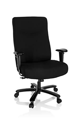 hjh OFFICE 738122 Chefsessel XXL Everest I Stoff Schwarz Schreibtischstuhl gepolstert bis 180kg belastbar, höhenverstellbar, One Size