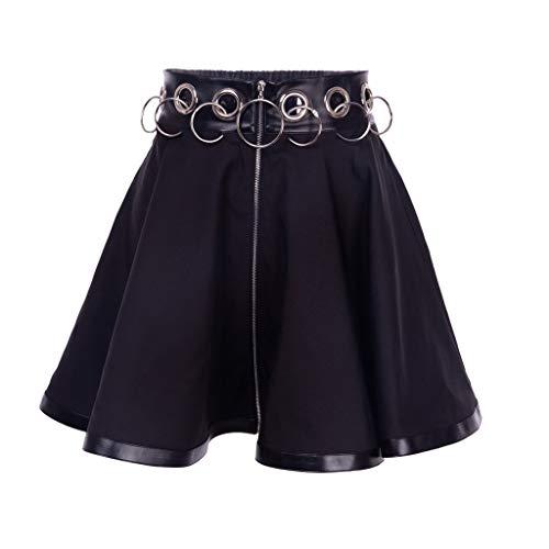 XJJZS Damas Negro Mini Falda Anillo con Cremallera Alta Cintura para Mujer Vestido de Calle, Falda de la línea de la Fiesta de la Fiesta (Size : Medium)