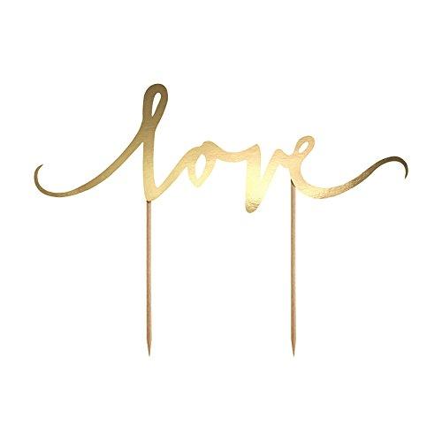Simplydeko Cake Topper   Tortenstecker - Tortentopper   Caketopper zu Hochzeit, Party oder Kindergeburtstag (Love in Gold XL)