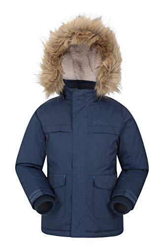 Mountain Warehouse Samuel Kids Parka Jacket - Water Resistant, Fur Hoodie, Fleece Lined, Multiple Pockets Ideal for Winter Navy 3-4 Years