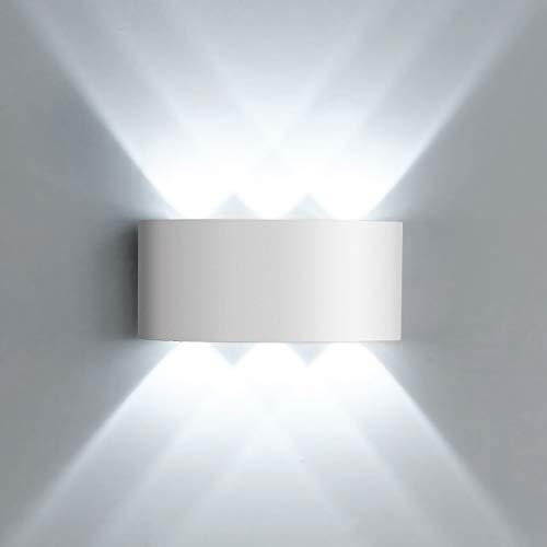 Lightess LED Wandleuchte Wandlampe Weiß Modern 6W Innen Aussen Up and Down IP65 aus Aluminium Kaltweiß Wasserdicht 6x120°Ausstrahlungswinkel