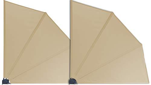 GRASEKAMP Qualität seit 1972 2 Stück Balkonfächer Sand Premium 140 x 140 cm mit Wandhalterung Trennwand Sichtschutz