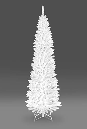 SHATCHI 4Ft-8Ft Artificial Flocked Slim Christmas Pencil Tree Holiday Home Decorations with Pointed tips and Metal Stand (Snow/Green/Black/White/Grey), 5ft