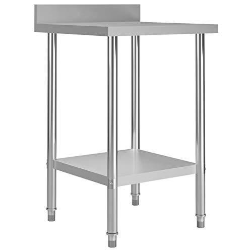 vidaXL Küche Arbeitstisch mit Aufkantung Verstellbare Füße Gastronomie Gastro Edelstahltisch Küchentisch Zerlegetisch Tisch 60x60x93cm Edelstahl