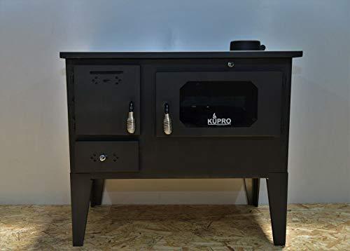 Estufa de leña, horno de cocina de combustible sólido, chimenea superior de 7,5 kw patas de vidrio