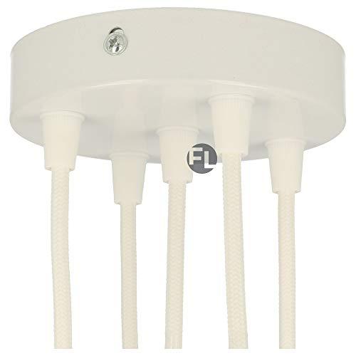 Flairlux Baldachin 5-fach weiß zur Montage von Pendelleuchten | Lampenbaldachin für alle Lampen geeignet | zur Lampenaufhängung an der Decke | Deckenrosette 120x25 mm inkl zylindrischem Klemmnippel