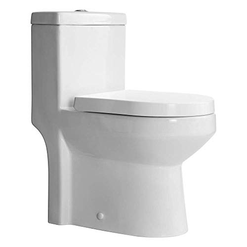 HOROW HWMT-8733S Small Toilet 25' Long x 13.4' Wide x 28.4' High 1-Piece Short Compact Bathroom Tiny Mini Commode Water Closet Dual Flush Concealed Trapway, 12'' Rough-in