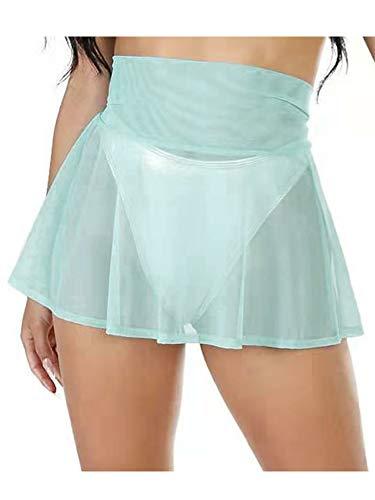 N / D Frauen sehen durch Schwimmrock hohe Taille Badeanzug unten Badeanzug Badebekleidung Tankini Bikini vertuschen (Green, XL)