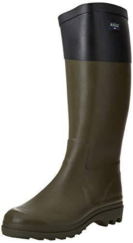 Aigle Women's AIGLENTINE COL Rain Boots, Khaki Black, 2.5 UK