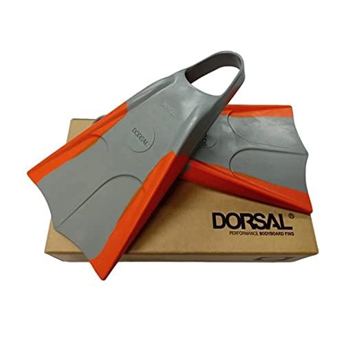 DORSAL Bodyboard Swimfins (Flippers) Grey Grey/Orange Mens US Size SM 6-7