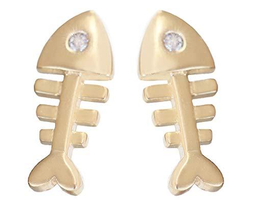 Hobra-Gold Pendientes de oro 585 con circonitas, diseño de pez, 14 quilates