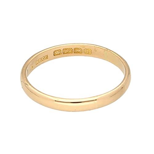 Alianza de boda para hombre de oro amarillo de 22 quilates en forma de D (tamaño Q 1/2) 2 mm de ancho | Joyería única