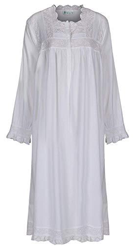 The 1 for U 100% Cotton Praire Style Nightgown with Pockets - Henrietta- XXS - XXXL (Large) White