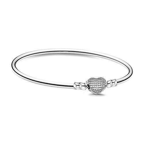 Damen Armband für Charm Beads Perle Anhänger Edelstahl Armreif Pandora style Charms kompatibel Modell A-925 Armreifen Herz Strass Silber 20cm