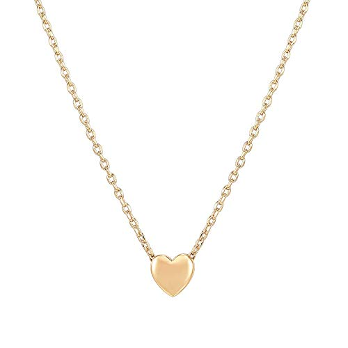 PAVOI 14K Rose Gold Plated Tiny Heart Necklace Round Circle Pendant Necklace | Yellow Gold Necklaces for Women
