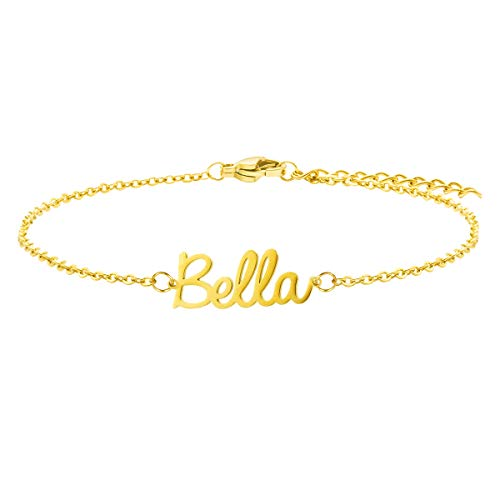 Bella Name Personalized Bracelet Dainty 18K Gold Jewelry Stainless Steel Customized Your Name Delicate Tiny Bracelets for Birthday Christmas Mother's Day Valentine's Day