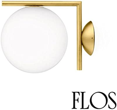 Flos IC C/W 1 Applique Wall or Ceiling Lamp Brass F3178059