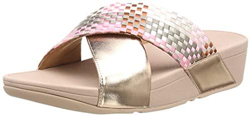 Fitflop Lulu Silky Weave Slides, Sandale Glissante Femme, Rose Corail, 37 EU