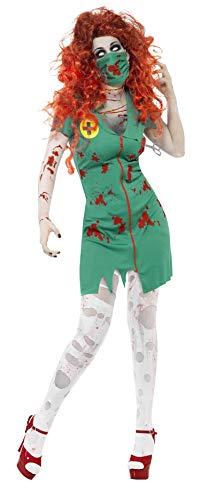 Smiffy's-24373M Halloween Disfraz de Enfermera Zombi, con Vestido y mascarilla, Color Verde, M-EU Tamao 40-42 (24373M)