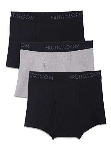 Fruit of the Loom Men's Breathable Underwear, Cotton Mesh - Black/Gray - Short Leg Boxer Brief, X-Large