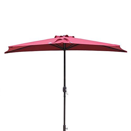 Island Umbrella NU5409BR Lanai Half Patio Umbrella, Burgundy
