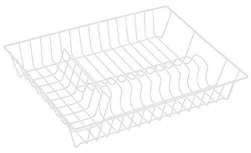 MSV Geschirrabtropfkorb - Abtropfgitter aus Draht - Geschirrständer mit Kunststoffüberzug weiß- Geschirrkorb 43 x 34 x 7,5 cm - Abtropfgestell für Teller und Besteck - Küchenhelfer