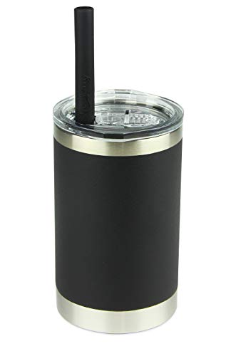 Housavvy Kids Tumbler Vacuum Insulated Stainless Steel Cup with Lid and Straw, 11oz, Black