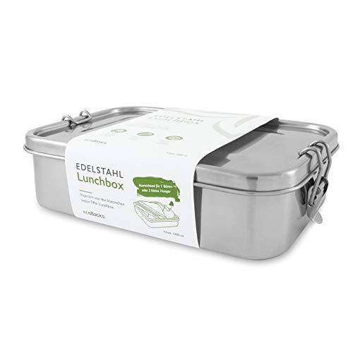 ecoBasics® Edelstahl Brotdose | 1.300 ml Inhalt | Inkl. Trennwand & Ersatzdichtung | Auslaufgeschützt & Plastikfrei | Formschönes Design mit mattierter Oberfläche | Ideal für große Portionen
