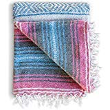 Mexican Blanket, Falsa Blanket | Authentic Hand Woven Blanket, Serape, Yoga Blanket | Perfect Beach Blanket, Navajo Blanket, Camping Blanket, Picnic Blanket, Saddle Blanket, Car Blanket (Forest)