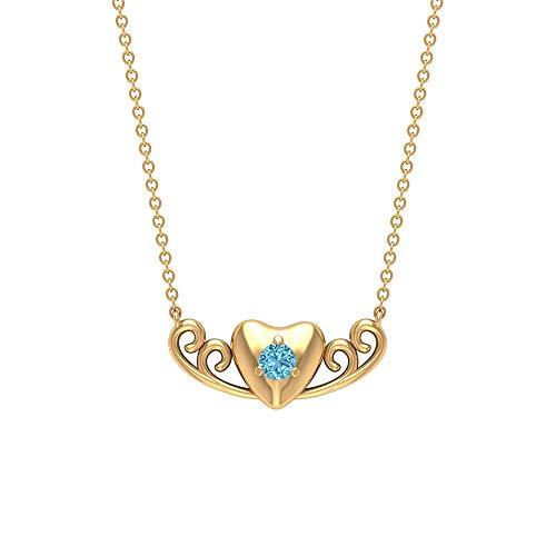 Rosec Jewels 18 quilates oro amarillo redonda Aquamarine