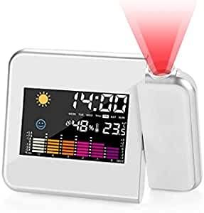 Reloj Despertador Digital Despertador Proyector, RANJIMA LED Alarma Reloj de proyección, Despertador de proyección función de repetición, 12/24 Horas, Temperatura Interior, Humedad, Función de Snooze