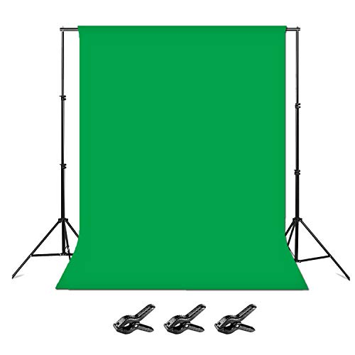 Folong Green Screen Backdrop with Stand, 6 x 9ft Wide Green Screen Backdrop with 8.5 x 10ft Wide Photo Backdrop Stand, Photo Backdrop Stand Kit Include Carry Bag and 3 Clamps