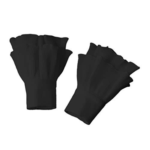 VAILANG Women Layered Striped Horn Manschette Agaric Rüschen Wrinkled Fake Sleeve Wrist Warmer